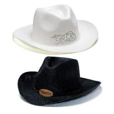 "Bride & Groom Cowboy Hats White ""Bride"" Cowboy Hat (Pack of 1)-Personalized Gifts By Type-JadeMoghul Inc."