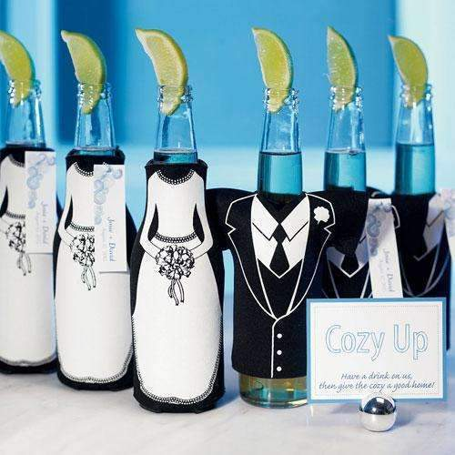 Bride or Groom Koozie Bottle Holder Favour Wedding Tux T-Shirt Shaped (Pack of 1)-Personalized Gifts By Type-JadeMoghul Inc.
