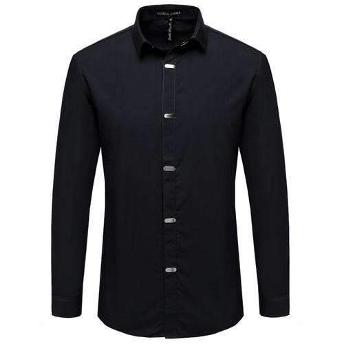 British Style Casual Long Sleeve Slim Fit Shirt-Black-China M 50kgto55kg-JadeMoghul Inc.