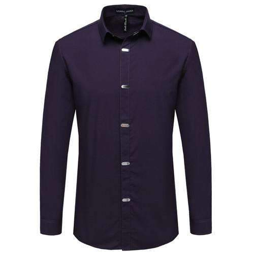 British Style Casual Long Sleeve Slim Fit Shirt-Purple-China M 50kgto55kg-JadeMoghul Inc.