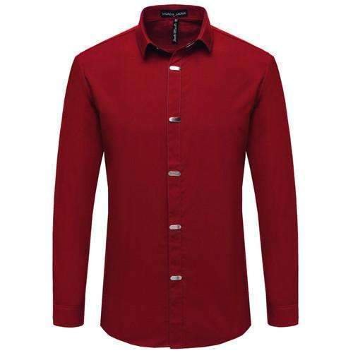 British Style Casual Long Sleeve Slim Fit Shirt-Red-China M 50kgto55kg-JadeMoghul Inc.