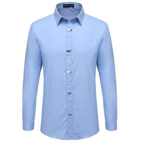 British Style Casual Long Sleeve Slim Fit Shirt-Skyblue-China M 50kgto55kg-JadeMoghul Inc.