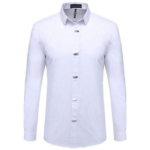 British Style Casual Long Sleeve Slim Fit Shirt-White-China M 50kgto55kg-JadeMoghul Inc.