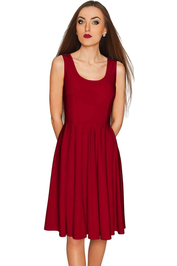 Burgundy Red Mia Fit & Flare Dress - Women-Solid-XS-JadeMoghul Inc.