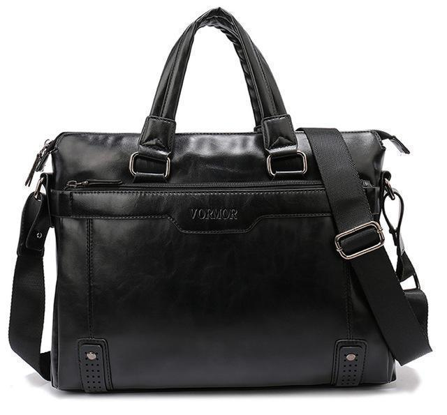 Business Men Briefcase Bag, PU Leather 14 inch Laptop Men Bag, Casual Man Shoulder Bags maleta-Black-China-JadeMoghul Inc.