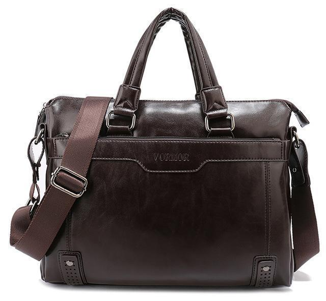 Business Men Briefcase Bag, PU Leather 14 inch Laptop Men Bag, Casual Man Shoulder Bags maleta-coffee-China-JadeMoghul Inc.