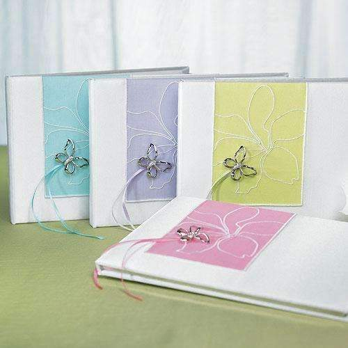 Butterfly Dreams Traditional Guest Book Green (Pack of 1)-Wedding Reception Accessories-JadeMoghul Inc.