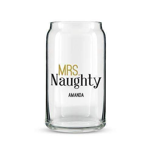 Can Shaped Glass Personalized - Mrs. Naughty Printing (Pack of 1)-Personalized Gifts for Men-JadeMoghul Inc.