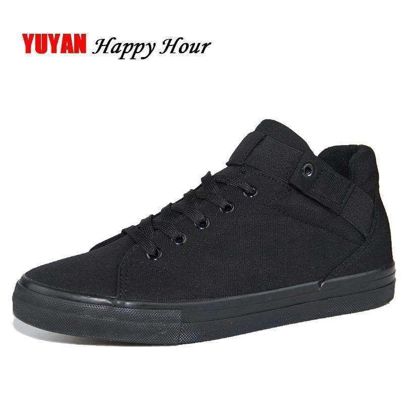 Canvas Shoes For Men / Flat Heel High Quality Casual Shoes-Black-6.5-JadeMoghul Inc.