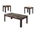 Carly Coffee/End Table Set, Cherry Brown, Pack of 3 Piece-Coffee Table Sets-Brown-Faux Marble MDF-JadeMoghul Inc.