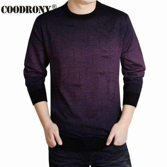 Cashmere Sweater For Men / Men Smart Casual Sweater-Purple-S-JadeMoghul Inc.