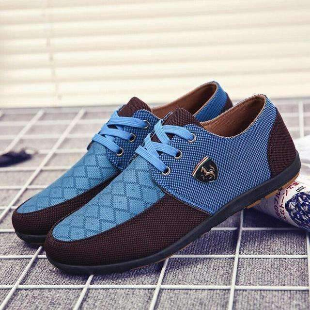 Casual Canvas Shoes For Men / Suede Leather Flats-Blue-6-JadeMoghul Inc.