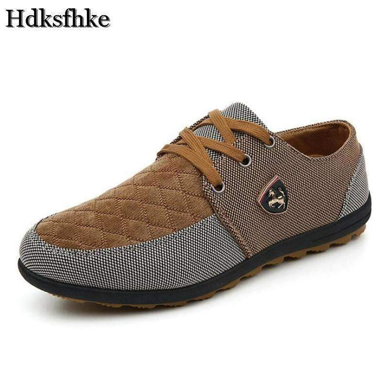 Casual Canvas Shoes For Men / Suede Leather Flats-Brown-6-JadeMoghul Inc.