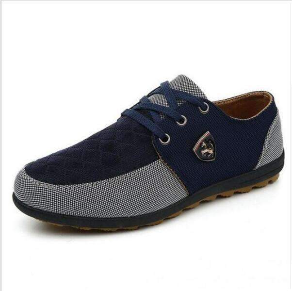Casual Canvas Shoes For Men / Suede Leather Flats-bule and grey-8.5-JadeMoghul Inc.