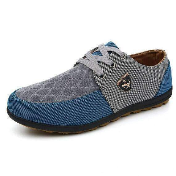 Casual Canvas Shoes For Men / Suede Leather Flats-Gray-6-JadeMoghul Inc.
