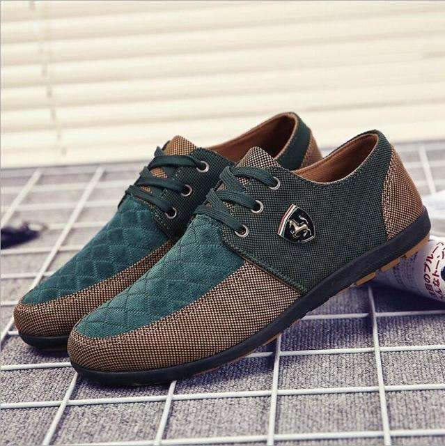 Casual Canvas Shoes For Men / Suede Leather Flats-Green-6-JadeMoghul Inc.