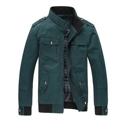 Casual Military Jacket - ALL Season Outerwear-Green-M-JadeMoghul Inc.