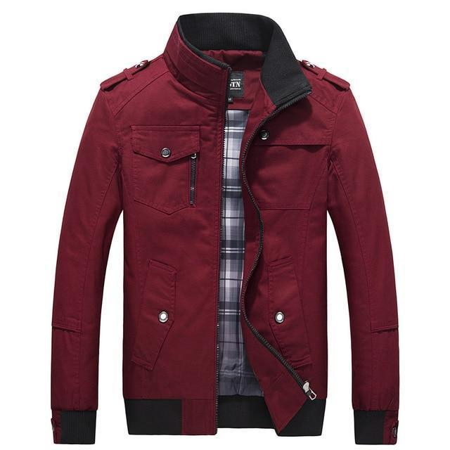 Casual Military Jacket - ALL Season Outerwear-Red-M-JadeMoghul Inc.