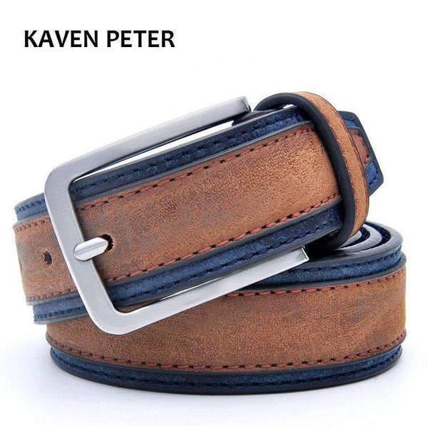 Casual Patchwork Men Belts Designers Luxury Men Fashion Belt Trends Trousers With Three Color To Choose Free Shipping-BrownNavy-100cm-JadeMoghul Inc.