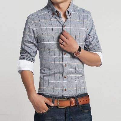 Casual Slim Fit Plaid Long Sleeve Shirt-blue gray-M-JadeMoghul Inc.