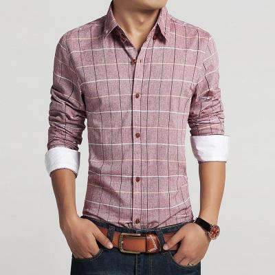 Casual Slim Fit Plaid Long Sleeve Shirt-Red-M-JadeMoghul Inc.