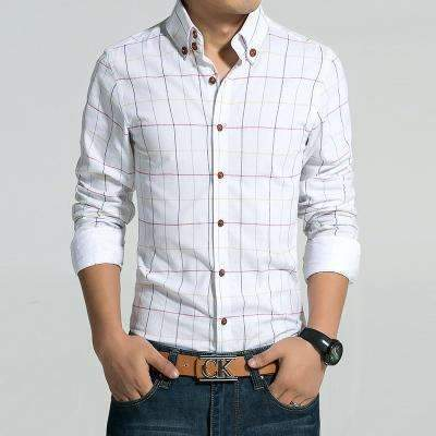 Casual Slim Fit Plaid Long Sleeve Shirt-White-M-JadeMoghul Inc.