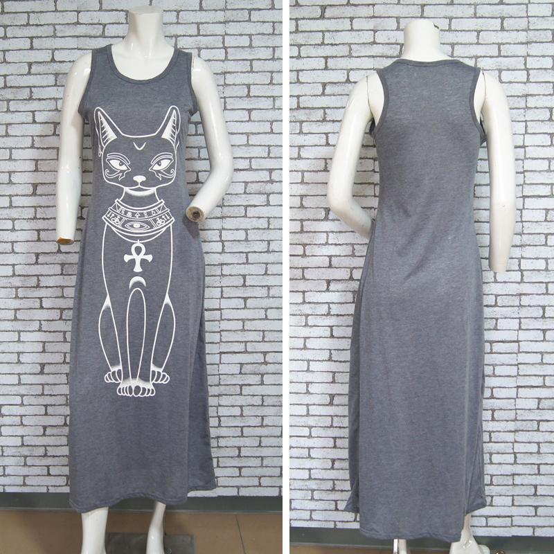 Cat Print Long Maxi Dress - Vintage Evening Party Dress-Gray-S-JadeMoghul Inc.