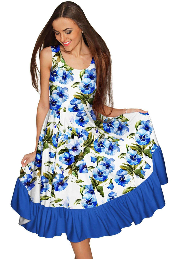 Catch Me Vizcaya Fit & Flare Cocktail Summer Dress - Women-Catch Me-XS-White/Blue-JadeMoghul Inc.