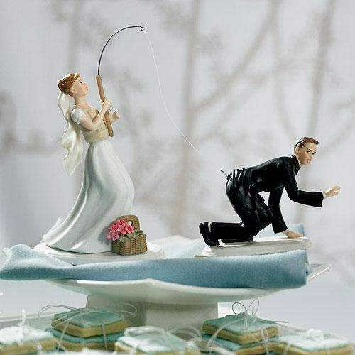 "Catch of the Day Bride and Groom Cake Topper ""Caught"" Groom Caucasian (Pack of 1)-Wedding Cake Toppers-JadeMoghul Inc."
