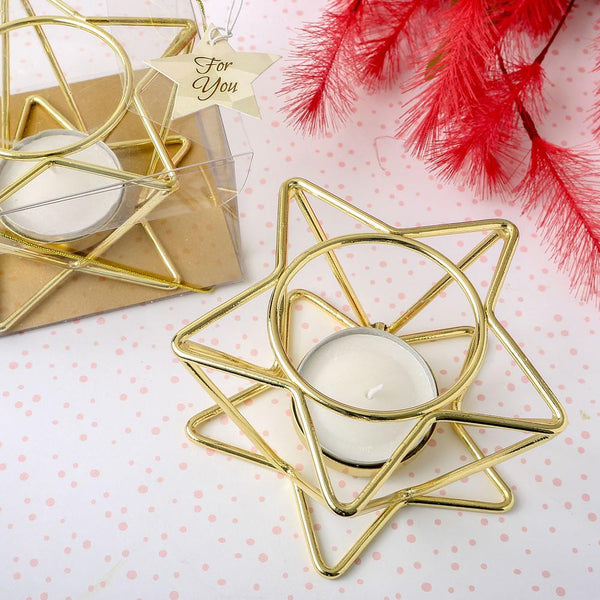 Celestial themed star shaped Gold wire tealight holder-Wedding Reception Decorations-JadeMoghul Inc.