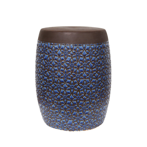 Ceramic Garden Stool with Floral Pattern, Brown and Blue-Patio Furniture-Brown and Blue-Ceramic-JadeMoghul Inc.