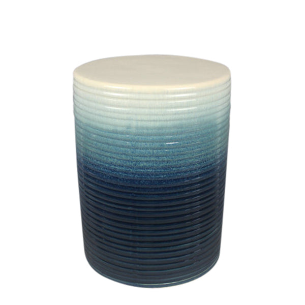 Ceramic Garden Stool with Ribbed Design, Blue and White-Patio Furniture-White and Blue-Ceramic-JadeMoghul Inc.