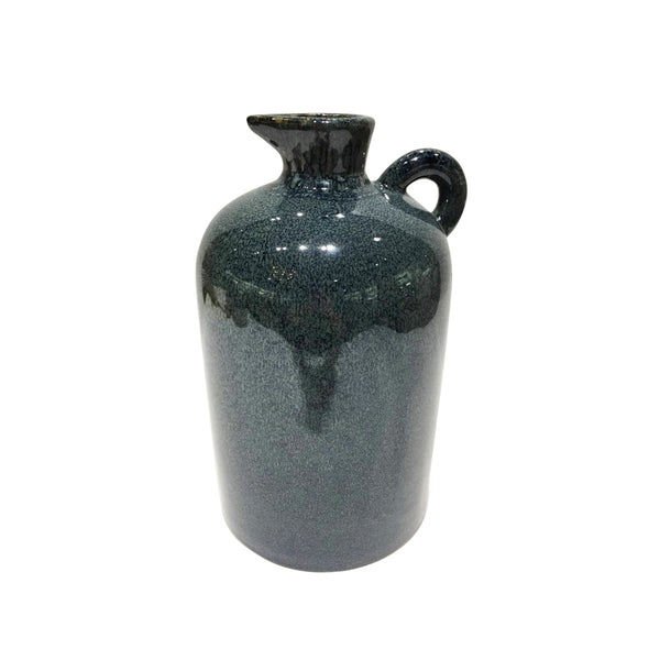 Ceramic Pitcher with Small Curved Handle, Blue and Black