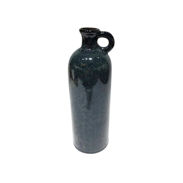 Ceramic Tall Jug with Curved Handle, Blue and Black