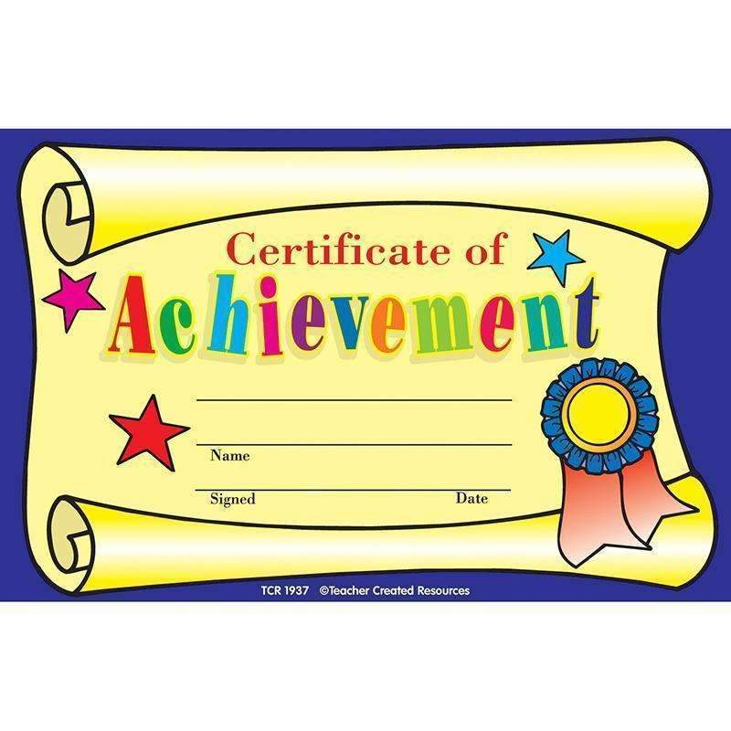 CERTIFICATE OF ACHIEVEMENT 25PK-Learning Materials-JadeMoghul Inc.