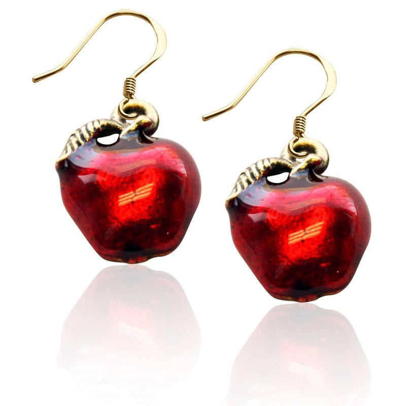 Charm Red Apple Charm Earrings in Gold WW
