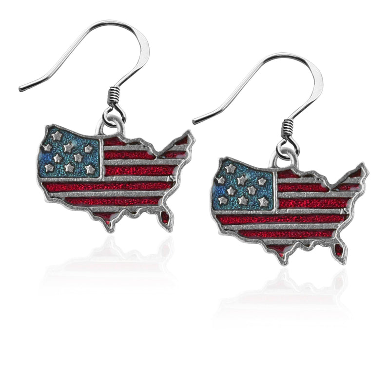 Charm Stars and Stripes Flag Charm Earrings in Silver WW