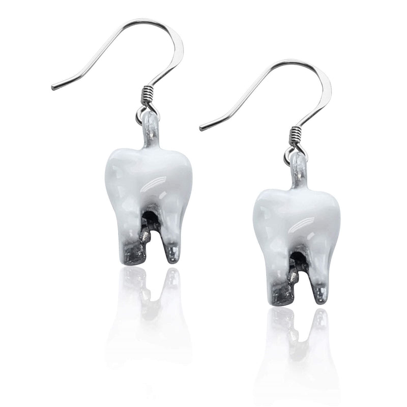 Charm Tooth Charm Earrings in Silver WW