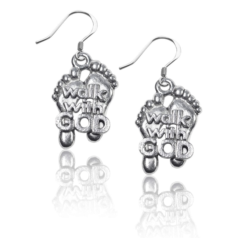 Charm Walk with God Feet Charm Earrings in Silver WW