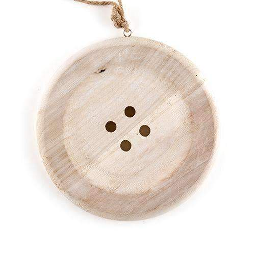 Charming Wooden Button Decoration with Natural Finish - Medium White (Pack of 1)-Ceremony Decorations-JadeMoghul Inc.