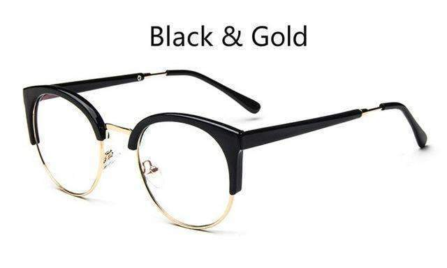 Cheap transparent Spectacle frame Anti-fatigue for cat eyes men's Glasses women Oculos De Grau masculino Retro Vintage eyewear-black and gold-China-JadeMoghul Inc.