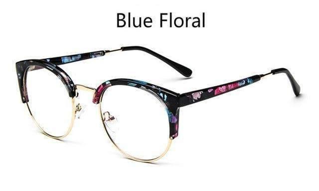Cheap transparent Spectacle frame Anti-fatigue for cat eyes men's Glasses women Oculos De Grau masculino Retro Vintage eyewear-blue floral-China-JadeMoghul Inc.