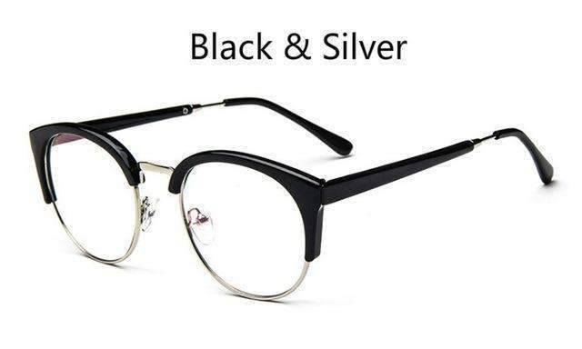 Cheap transparent Spectacle frame Anti-fatigue for cat eyes men's Glasses women Oculos De Grau masculino Retro Vintage eyewear-bright black silver-China-JadeMoghul Inc.