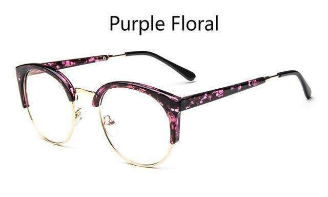Cheap transparent Spectacle frame Anti-fatigue for cat eyes men's Glasses women Oculos De Grau masculino Retro Vintage eyewear-purple floral-China-JadeMoghul Inc.