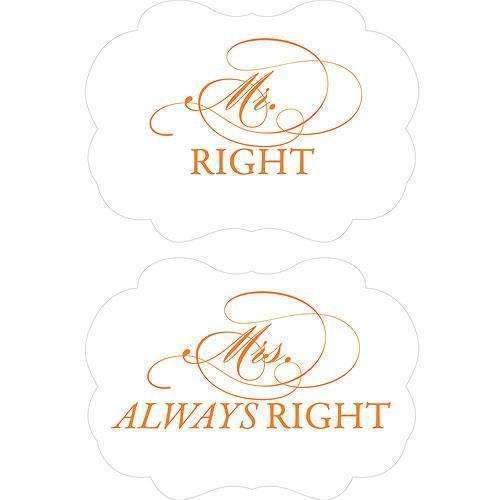 Cheeky Mr. Right & Mrs. Always Right Paper Chair Markers Berry (Pack of 1)-Wedding Signs-Tangerine Orange-JadeMoghul Inc.