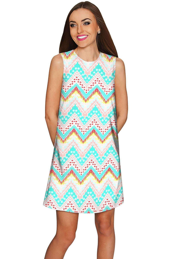 Chevron Please Adele Casual Shift Mini Dress - Women-Chevron Please-XS-Pink/Green-JadeMoghul Inc.