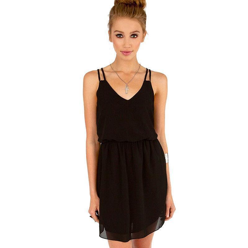 Chiffon Party Dress - Women Casual V-Neck Beach Dress-black-XS-JadeMoghul Inc.