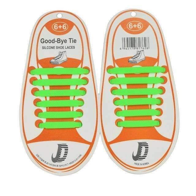 Children No Tie Silica Gel Shoe Laces-Green-JadeMoghul Inc.