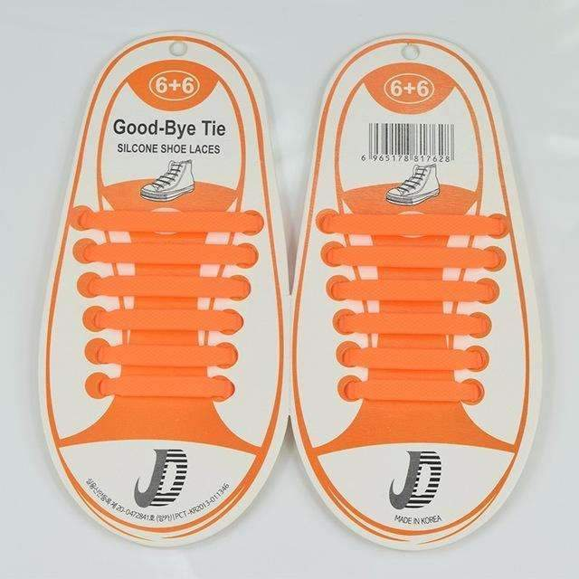Children No Tie Silica Gel Shoe Laces-Orange-JadeMoghul Inc.