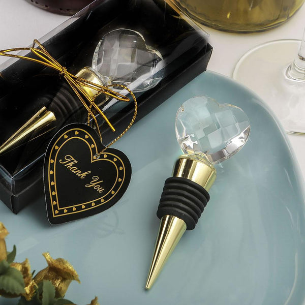 Choice Crystal Gold Bottle Stopper With Crystal Heart Design from fashioncraft-Personalized Coasters-JadeMoghul Inc.